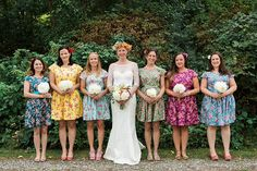 Floral bridesmaids dresses mismatched coordinating tea dress cap sleeve vintage style floral print summer wedding colourful bright by luminia on Etsy https://www.etsy.com/listing/253585024/floral-bridesmaids-dresses-mismatched