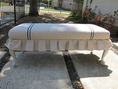 Linen covered bench