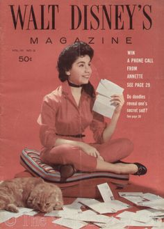 Annette Funicello reading fan mail. Walt Disney's Magazine, Volume III, Number 2, February 1958. This issue announced a new contest, t...