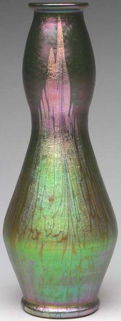 May 25th Auction. Loetz Phanomen Gre 2-284 (Medici) May Green Vase. A fantastic example of the Phanomen Gre 2/284 decor by Loetz, circa 1902. #Loetz #ArtGlass #MorphyAuctions