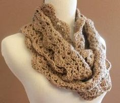 Chunky Crochet Infinity Scarf Lace Thick Cowl Neckwarmer Scarf Snood