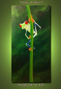 Tree Frog  PeekABoo24 x 48 acrylic on canvas by MichaelHProsper, $375.00