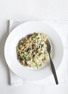 Spinach and mushroom pearl barley risotto. Tasted good. Barley took longer to cook.