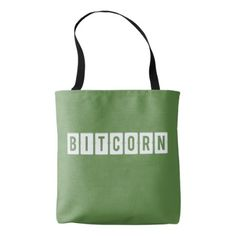 Funny Cryptocurrency Bitcorn Green Tote Bag - simple clear clean design style unique diy