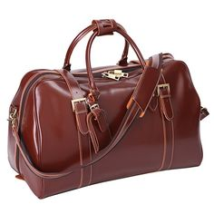 Amazon.com | Leathario Mens Genuine Leather Overnight Travel Luggage Carry On Airplane Duffle Overnight Weekender Bag | Travel Duffels