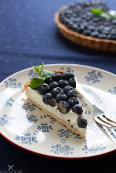Blueberry and Mint Tart {by Icing-Sugar.net} #CookBlogShare