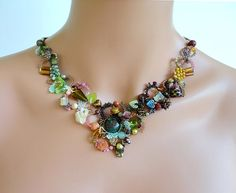 freeform peyote necklace beadwoven beaded by PeyoteBeadArt, by Sylvie@peyotebeadart.com