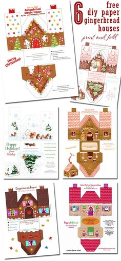 FREE Download ~ 6 Paper Gingerbread House designs from We Love To Illustrate ~ perfect for packaging goodies or giftcards #freeprintable #holidayentertaining
