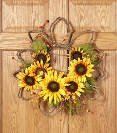 Fall For All Sunflower & Berry Wall Decor Yellow & Orange