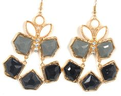 Black and Grey gold plated earrings fro LookOutBoutique.com