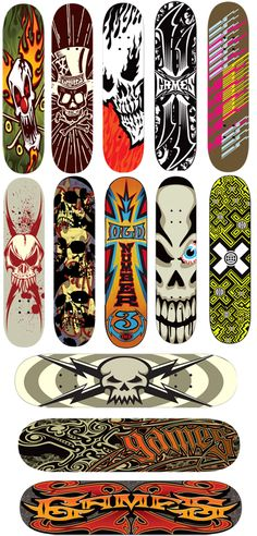 13thfloor_xgames_skateboard_graphic_designs-- This website's got some really cool #skateboard designs.