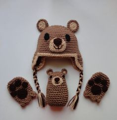 Bear baby hat mitten and rattle set by scotako on Etsy, $35.00