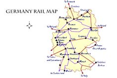 Map of the major rail lines in Germany, with information on buying tickets, railpasses, and the types of German trains and routes.