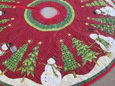 Quilted Christmas Tree Skirt Snowman and Christmas by bellazahn, $155.00