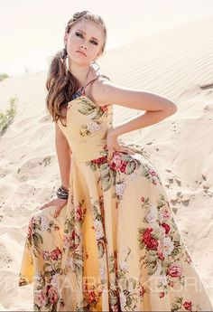 Yellow Rose Floral Plunge Neckline Bohemian Summer Dress - pinned by pin4etsy.com
