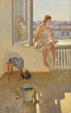 Anatoly Levitin m. 1922 RUSO. REALISMO. Considerado el mas famoso pintor de género y retratos de su tiempo en Rusia, considerado representante de la Escuela de Leningrado de Pintura.
