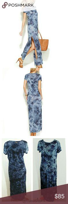 MICHAEL KORS Blue Tie Dye Linen Maxi Amazing saturated tie dye Maxi dress, short sleeve, crew neckline, high cut side leg slits create a breezy, trendy look and feel.   Brand new with tags.  Price is negotiable, MAKE AN OFFER!  100% Linen.  Size Medium. MICHAEL Michael Kors Dresses Maxi