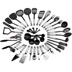 Best Choice Products Home Kitchen All-Purpose Stainless Steel and Nylon Cooking Baking Tool Gadget Utensil Set for Scratch-Free Dishes - Black/Silver Image 1 of 6 Cooking Utensils Set, Kitchen Utensil Set, Cooking Dishes, Walmart, Baking Tools, Black Kitchens, Kitchen Tools, Kitchen Dining, Kitchen Stuff