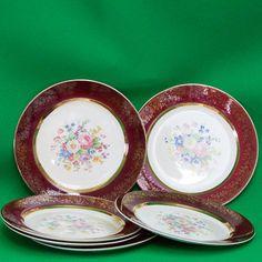 "1930s Set Of 6 Salem China Century Shape, Aristocrat Maroon 10"" Dinner Plates"