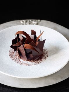 Black Forest – Valrhona 70% Guanaja chocolate, textures of morello cherry & sour cream. At Huka Lodge, Taupo  (Waikato) New Zealand.