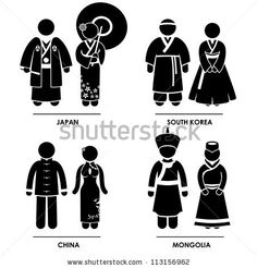 East Asia - Japan South Korea China Mongolia Man Woman People National Traditional Costume Dress Clothing Icon Symbol Sign Pictogram by Leremy, via Shutterstock