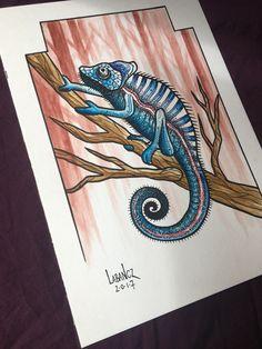 Watercolor / black marker pen chameleon artwork. Instagram @labanczart / @labanczpaint www.etsy.com/shop/labanczart #painting #art #artwork #chameleon #lizard #watercolor #watercolorpainting #markers #aquarelle #gifts #style #homedecor #drawing #shopping #etsy