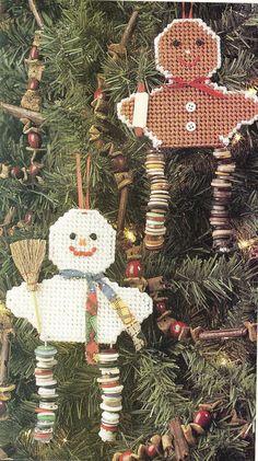 Button Leg Snowman & Gingerbread Ornaments by needlecraftsupershop, $3.00
