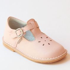 L'Amour Pink Leather T-Strap Shoes