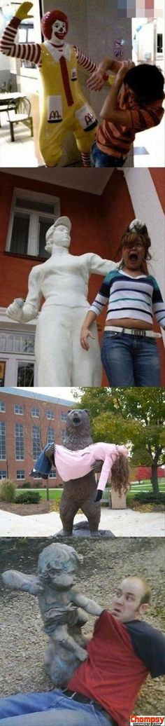 A funny picture of the statues fight back funny pictures