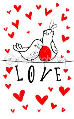 Doodle birds couple among hearts. by fearsonline - Stock Vector