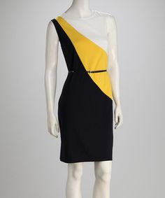 Take a look at this Yellow & Navy Color Block Belted Dress by AA Studio on #zulily today!