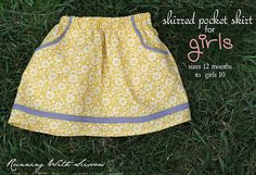 Running With Scissors: Tutorial Variation: Shirred Pocket Skirt for Girls (size 12 mos. to girls I cannot even stop swooning. Sewing Kids Clothes, Sewing For Kids, Baby Sewing, Kids Clothing, Lola Clothing, Clothing Stores, Diy Jupe, Toddler Skirt, Skirt Tutorial