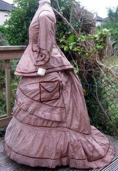 Pink Brown Striped Silk Bustle Walking Traveling Dress 1875/1876
