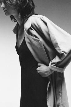 trench coat and black slip dress…