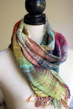 French Press Knits: Weaving with NoroWarp and Weft: Noro Sekku in Red, Green, Purple