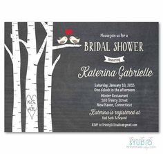 Birch Trees Bridal Shower Invitation - Chalkboard Style Wedding - Two Love Birds - diy printable digital design winter 2015-2016 personalized lovebirds announcement winter christmas carved initials birch trees custom invite wood grain vintage heart chalkboard red heart save the date TrinityStStudio 17.00 USD