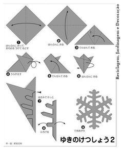 Realización de motivo decorativo en forma de copo de nieve. Paso paso. Se puede hacer con papel, cartulina, fieltro, o cualquier otro material que se pueda plegar fácilmente.