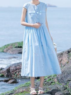 Light Blue Stand Collar Solid Casual Cotton Midi Dress