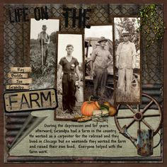 Life On The Farm...great country accents like chicken wire and a wagon wheel set the tone. Consistently cropped full length photos add style.