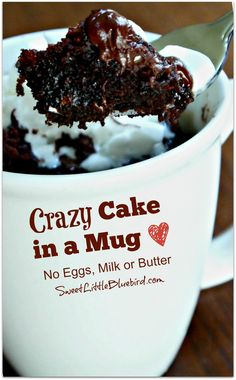 I had fun playing in my kitchen today and made a Chocolate Crazy Cake in a Mug! Not familiar with Crazy cake? The recipe is also known as Wacky Cake and Depression Cake - No Eggs, Milk, Butter, Mug Recipes, Sweet Recipes, Cake Recipes, Dessert Recipes, Cooking Recipes, Recipies, Mug Cake Microwave, Microwave Recipes, Microwave Brownie