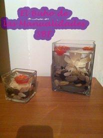DECORACION, cuenco de cristal con chinos agua y velas flotantes