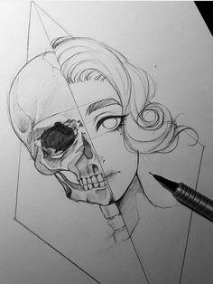 Dark Art Drawings, Pencil Art Drawings, Art Drawings Sketches, Cool Drawings, Tattoo Drawings, Interesting Drawings, Sketches Of Girls, Marker Drawings, Sharpie Drawings