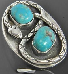 Mary Thomas Sterling Silver Navajo Native American Turquoise Snake Mens Ring 13