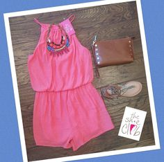 Coral romper just in and already a hit   Coral Romper $55 Statement Necklace $34 Hammitt Getty Cognac $195 Dolce Vita Kendra $86 ☎️ 210-824-9988
