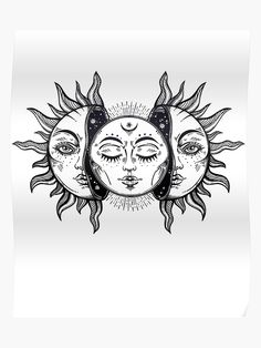 'Vintage Solar Eclipse Sun and Moon' Poster by MagneticMama Line Art Tattoos, Tattoo Drawings, Framed Prints, Canvas Prints, Art Prints, Dragon Tatto, Bicep Tattoo, Face Sketch, Best Sleeve Tattoos