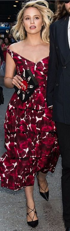 Who made Dianna Agron's red print dress?