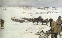 Mametz, Western Front: men, animals and supplies in snow covered valley by Frank Crozier Australian official war artist. Depicts a scene in the rear area of I Anzac Corps during the Battle of the Somme, winter of Snow Scenes, Winter Scenes, World War One, First World, Schlacht An Der Somme, Ww1 Art, Snow Effect, Battle Of The Somme, Winter Pictures