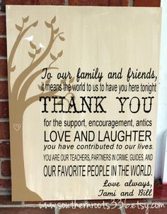 LARGE Custom Thank You Wedding Sign by SouthernRoots336 on Etsy, $45.00