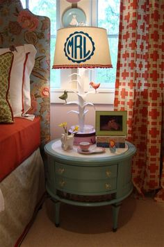 big girl room - Love the colors and the DIY monogram lampshade! My New Room, My Room, Do It Yourself Furniture, Big Girl Rooms, My Dream Home, A Table, Table Lamp, Kids Room, Bedroom Decor