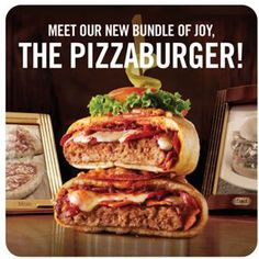 """And Now the Pizzaburger -- Pizzaburgers are available in Five-Cheese and Pepperoni & Bacon versions. The latter includes a half-pound Angus beef patty, signature pizza sauce, grated cheese, pepperoni and bacon, all wrapped in hand-made pizza dough and baked. The Pizzaburgers are priced at $9.99 to $12.99 depending on market and other variables, the casual-dining chain says.  """"Some things just belong together, and the Pizzaburger, first introduced by our sister company Boston Pizza in…"""